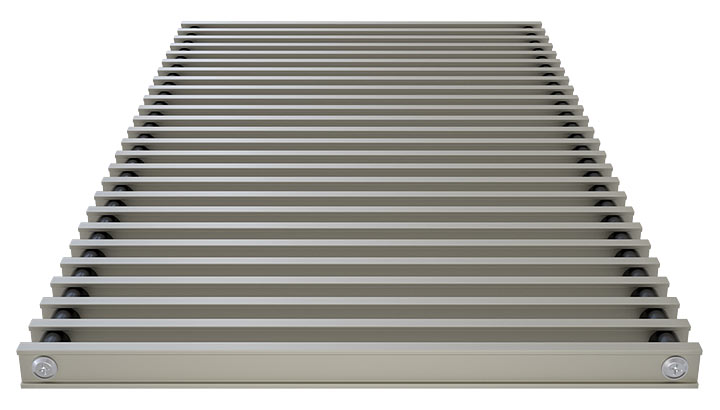 Double T-Bar Roll-up grille, anodized steel
