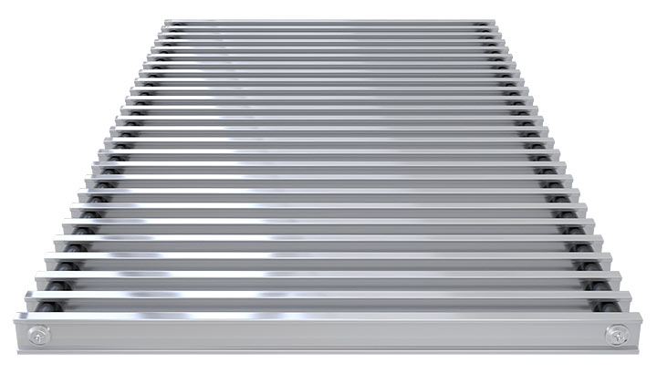 Double T-Bar Roll-up grille, natural aluminium