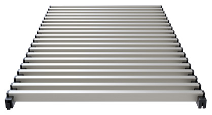 Modular aluminium grill for trench heaters and climaconvectors