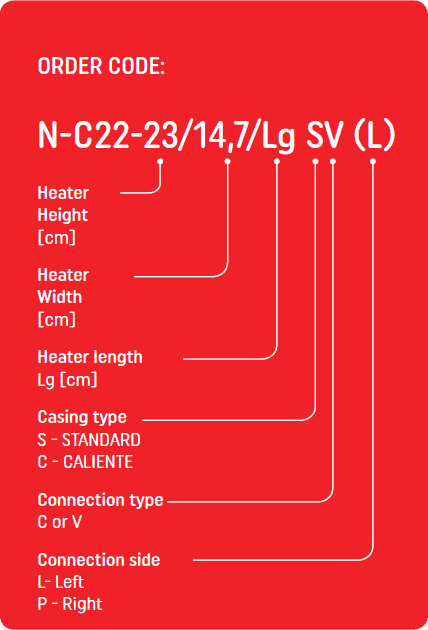 Wall mounted LST Convector order code