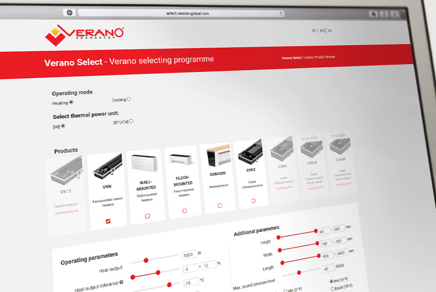 VERANO SELECT product selection software