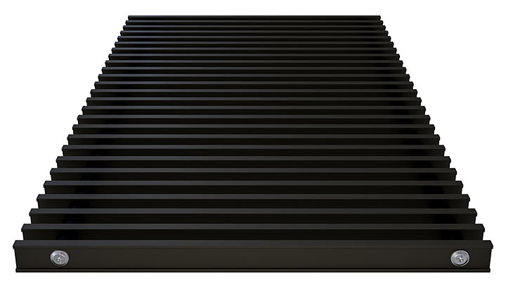 Double T-Bar Roll-up grille, anodized aluminium black