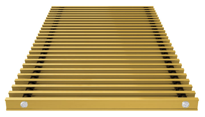 Double T-Bar Roll-up grille, anodized aluminium gold