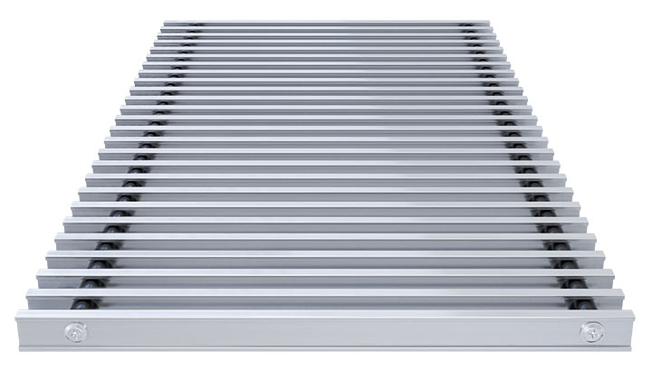 Double T-Bar Roll-up grille, anodized aluminium satin