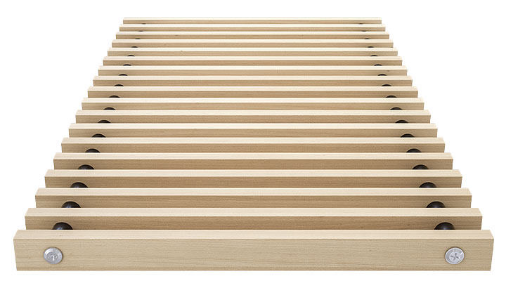 Roll-up wooden grille beech