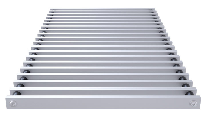 Roll-up aluminium grille profile closed, anodized satin