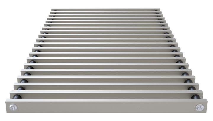 Roll-up aluminium grille profile closed, anodized steel