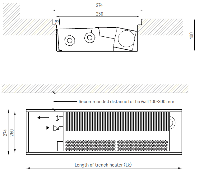 Fan assisted trench heater SILENT